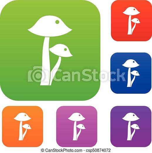 Honey fungus set color collection - csp50874072