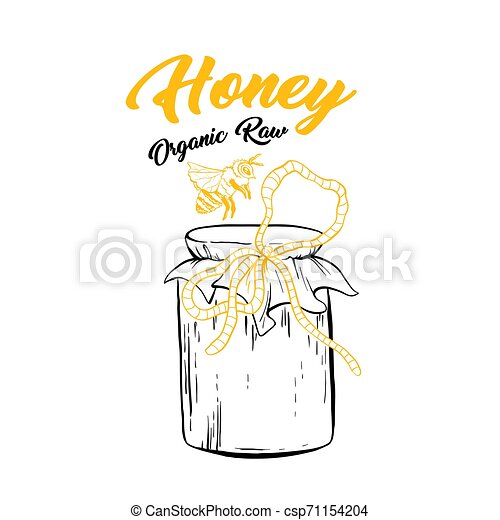 honey sketch glass jar with canned food vector clipart csp71154204