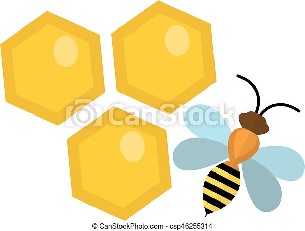 honeycomb and bee icon flat style isolated on white vector clip rh canstockphoto com honeycomb shape clipart bee honeycomb clipart