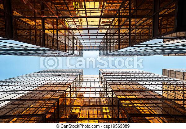 hong, bâtiments bureau, reflété, kong, symétrique - csp19563389