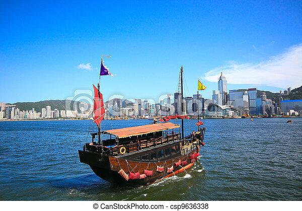 hong, ciudad, vela, asia, kong, barco - csp9636338