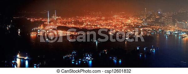 Hong Kong aerial night - csp12601832