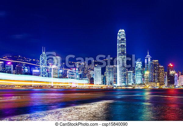 Hong Kong at night - csp15840090
