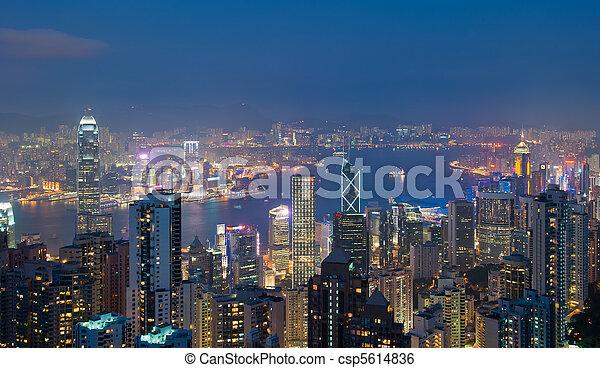 Hong Kong at night, view from Victoria Peak - csp5614836