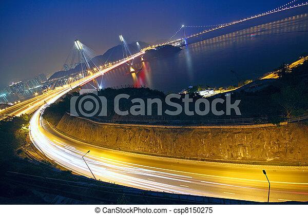 Hong Kong Bridge of transportation at night  - csp8150275