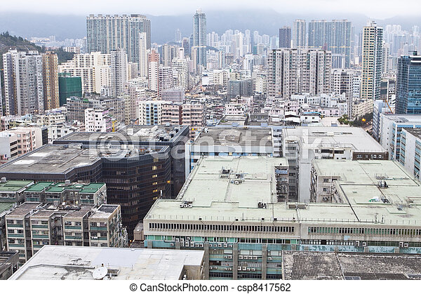 Hong Kong downtown in Kowloon district - csp8417562