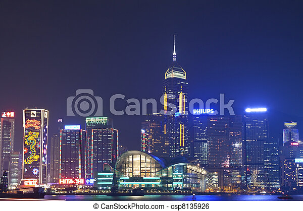Hong Kong night view at Christmas - csp8135926