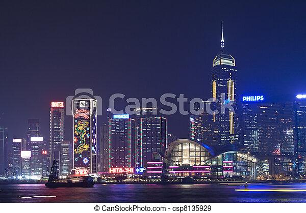 Hong Kong night view at Christmas - csp8135929