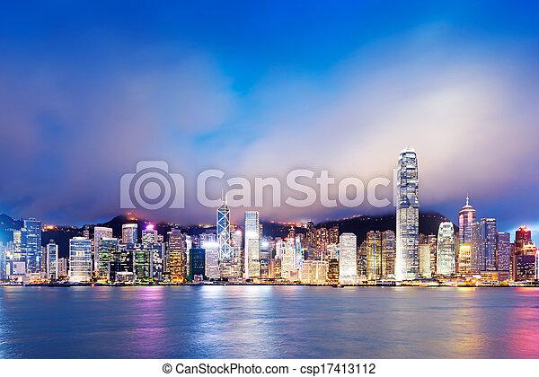 Hong Kong night view of Victoria Harbor, Hong Kong Island business district - csp17413112