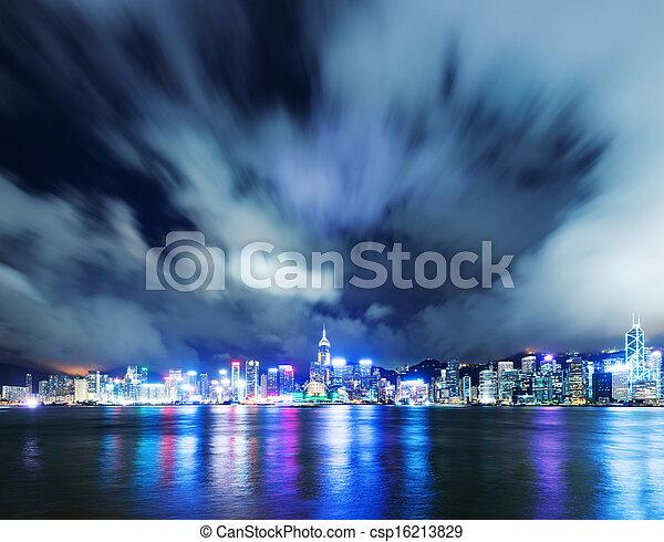 Hong Kong night view of Victoria Harbor, Hong Kong Island business district - csp16213829