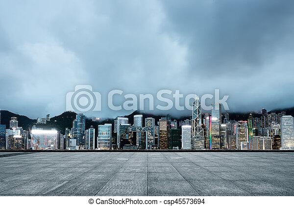 hong kong, noturna - csp45573694