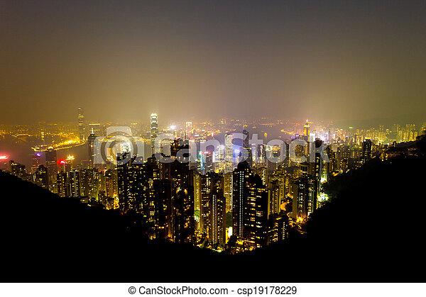 Hong Kong skyline at night.  - csp19178229