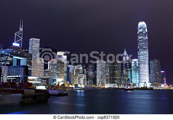 Hong Kong skyline night - csp8371920