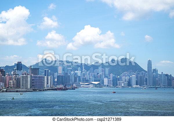 Hong Kong view along Victoria Harbor - csp21271389