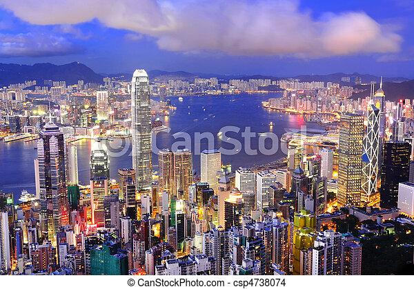 hong, zentraler bezirk, hafen, kong, skyline, nacht, victoria, ansicht - csp4738074