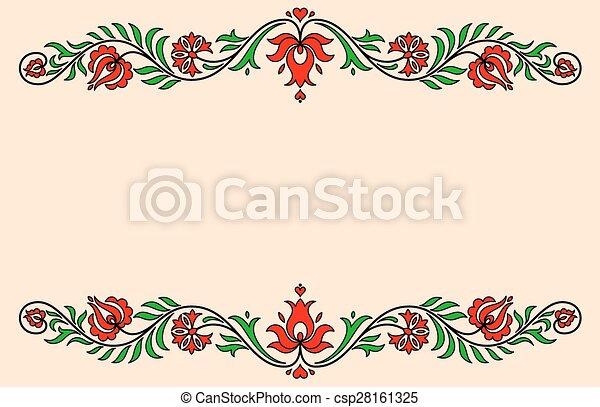 hongrois, vendange, étiquette, traditionnel, motives, floral - csp28161325