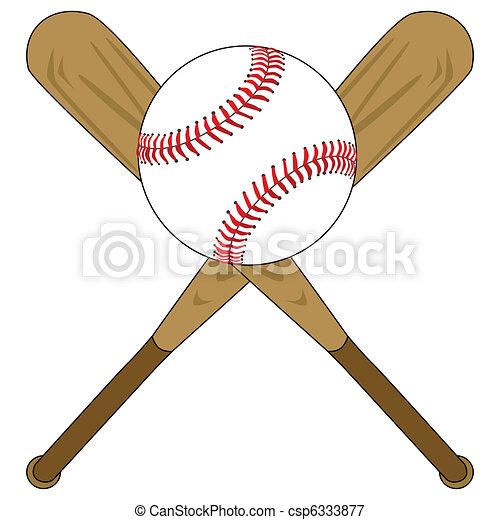 honkbal bal, knuppels - csp6333877
