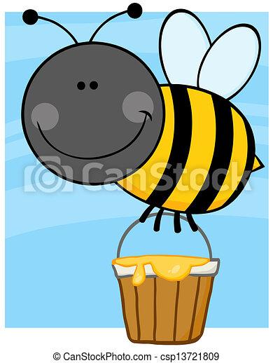 honning spand, flyve, bi - csp13721809