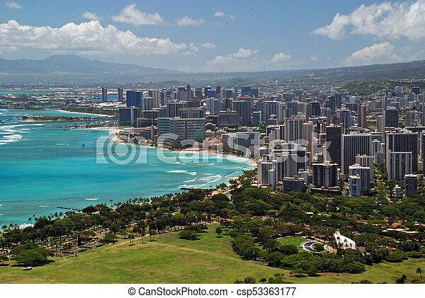 Honolulu beach on Oahu Hawaii. - csp53363177