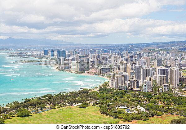 Honolulu skyline from Diamond Head - csp51833792