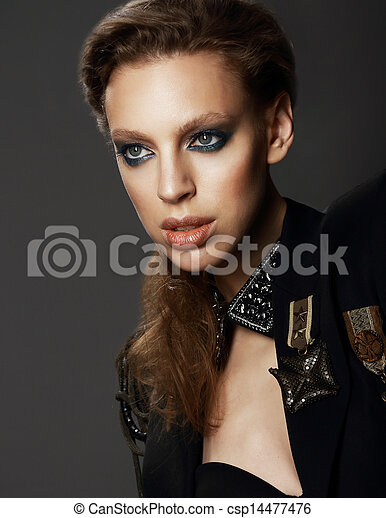 Honor. Portrait of Classy Woman in Military Uniform with Brooches - csp14477476