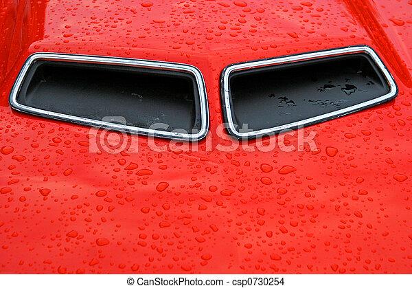 hood scoops. hood scoops on an orange classic muscle car.