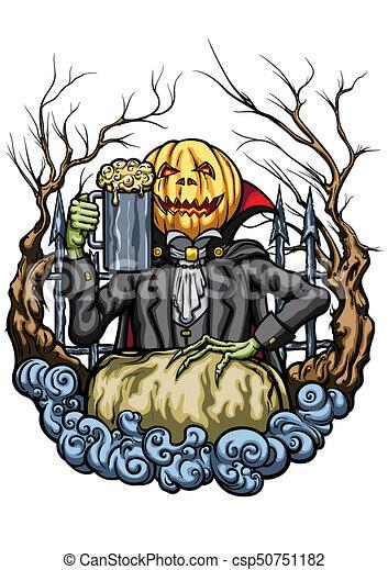 Halloween Bier.Hoofd Halloween Bier Pint Schepsel Pompoen