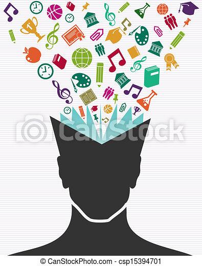 hoofd, kleurrijke, iconen, book., menselijk, opleiding - csp15394701