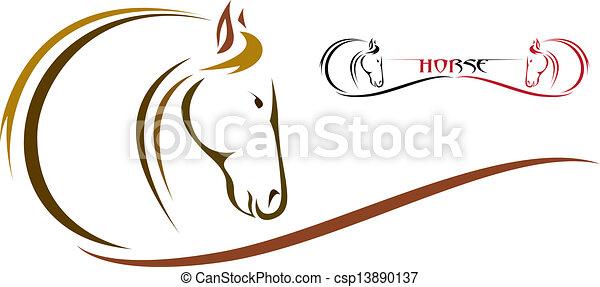 hoofd, vector, paarde - csp13890137