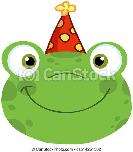 Hoofd Verjaardag Hoed Het Glimlachen Kikker Schattig Hoofd