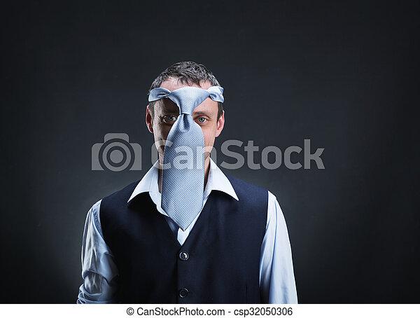 hoofd, zijn, vreemd, stropdas, man - csp32050306