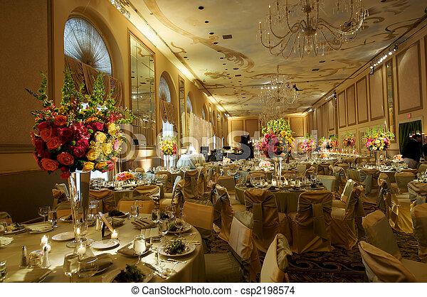 hoog, einde, ontvangst, trouwfeest - csp2198574