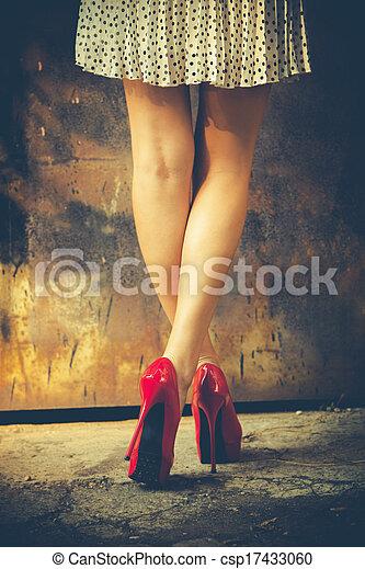 hoog, rood, hiel, schoentjes - csp17433060
