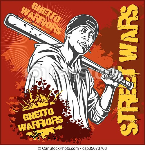 Clip art vector of hooligan with baseball bat ghetto warriors ghetto warriors gangster on dirty graffiti background csp35673768 sciox Images