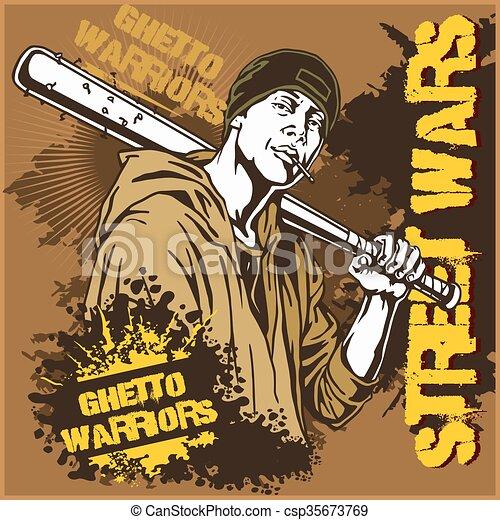 Hooligan With Baseball Bat Ghetto Warriors Gangster On Dirty