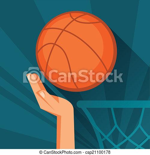 hoop., basketbal, grit, illustratie, hand, bal, door, sporten - csp21100178