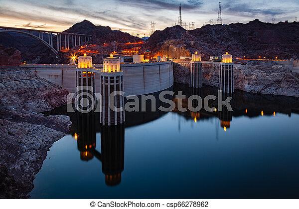 Hoover Dam at Lake Mead at night - csp66278962
