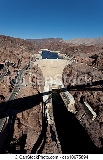Hoover Dam on Colorado river and Lake Meade Arizona - csp10675894