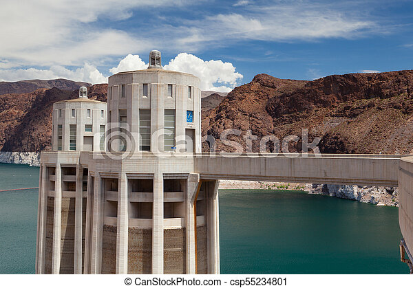 Hoover Dam Towers on the blue Lake Mead, USA