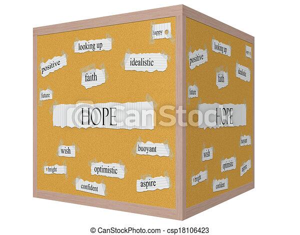 Hope 3D cube Corkboard Word Concept - csp18106423