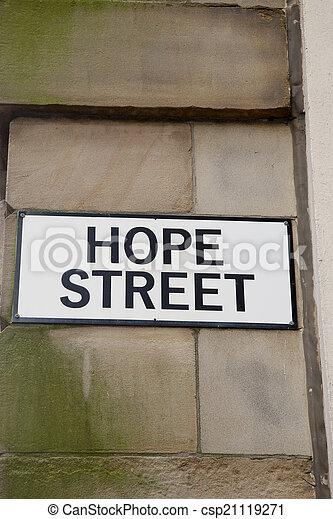 Hope Street Sign, Manchester - csp21119271