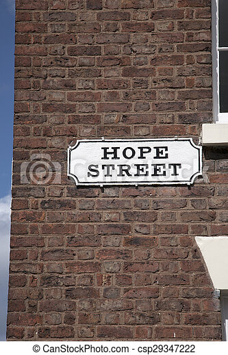 Hope Street Sign on Red Brick Wall, Liverpool - csp29347222