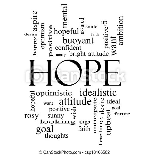 Hope Word Cloud Concept in black and white - csp18106582
