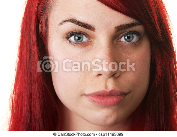 Hopeful Young Woman in Red Hair - csp11493899