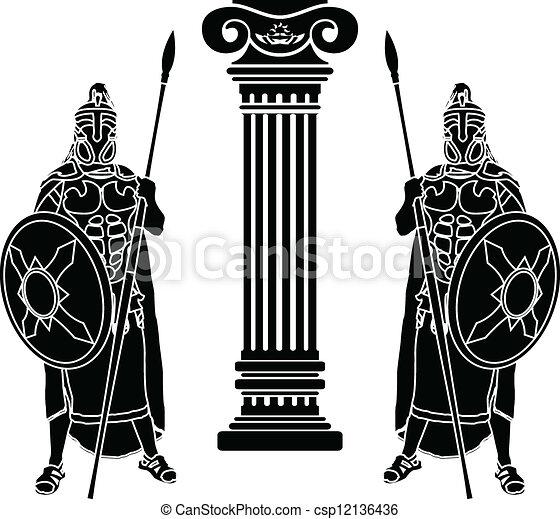 hoplits, coluna, dois - csp12136436