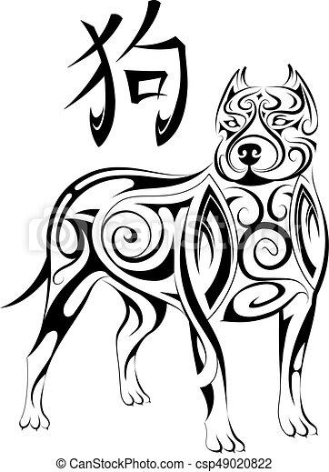 horóscopo chino, símbolo, perro, 2018, año, nuevo - csp49020822