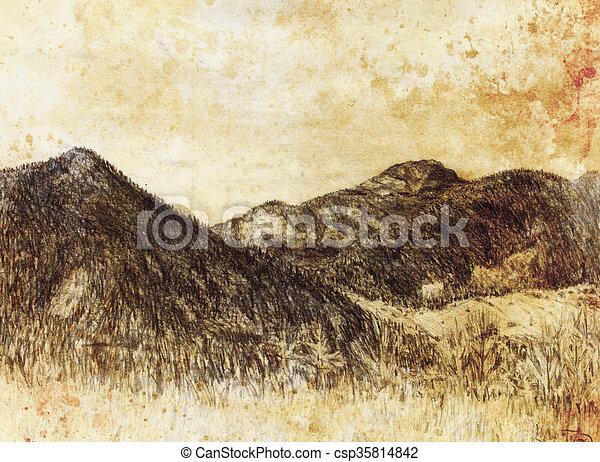 Hora Davny Graficke Pozadi Noviny Malba Krajina Hora Davny