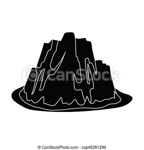 hora, móda, illustration., ikona, hory, příkrý, znak, barvy, silný, svobodný, vektor, čerň, ponurý, mazaný, pastvina, spikes.different, kmen - csp45381299