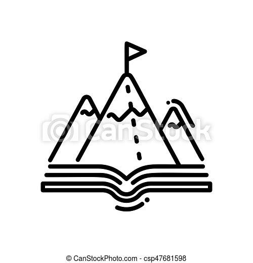 hora, moderní, -, svobodný, vektor, řádka, školství, ikona - csp47681598