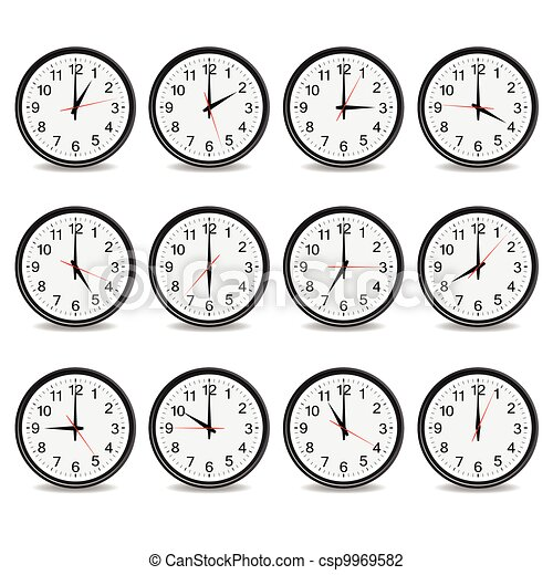 Reloje que muestran cada hora ilustración vectorial - csp9969582